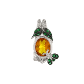 Подвеска Пчела с зеленым и золотистым фианитами, серебро