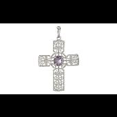 Крест без распятия ажурный с фианитом, серебро