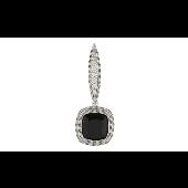 Подвеска с чёрным и прозрачными фианитами, серебро