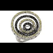 Кольцо круглое с фианитами, серебро