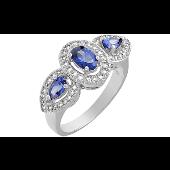 Кольцо Нежное с синими и прозрачными фианитами, серебро