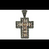 Крест без распятия с фианитами и марказитом, серебро