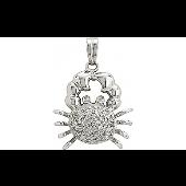 Кулон Краб с бриллиантами, белое золото