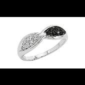 Кольцо Бесконечность с чёрными и белыми бриллиантами, белое золото