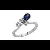 Кольцо Тюльпан с бриллиантами и сапфиром, белое золото