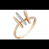 Кольцо с тремя овальными элементами и бриллиантами, красное золото