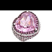 Кольцо Сердце Океана с розовыми фианитами, серебро