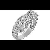 Кольцо Змея с фианитами, серебро