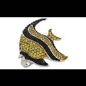 Кольцо Рыбка Немо с желтыми и черными фианитами, серебро