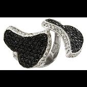 Кольцо Два Сердца с черными и прозрачными фианитами, серебро