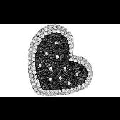 Кулон Сердце с черными и прозрачными фианитами, серебро