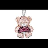 Кулон Мишка с розовыми фианитами, серебро