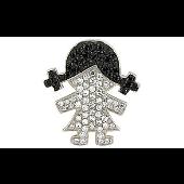 Подвеска Девочка с черными и прозрачными фианитами, серебро