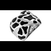 Кольцо Жираф с каучуковыми вставками из серебра