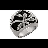 Кольцо-перстень Стрекоза с фианитом и ониксом, серебро