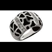Кольцо без камня с каучуковыми вставками и фианитами, серебро