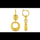 Серьги Кольца без вставки, серебро с золотым покрытием