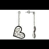 Серьги длинные Сердце на цепочке с прозрачными и черными фианитами, серебро