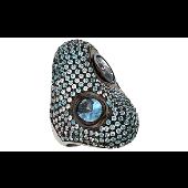 Кольцо с голубыми фианитами, серебро