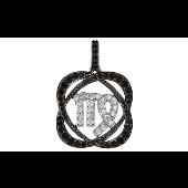Подвеска знак зодиака Дева с чёрными и прозрачными фианитами, серебро