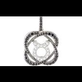 Подвеска знак зодиака Телец с чёрными и прозрачными фианитами, серебро