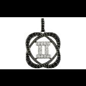 Подвеска знак зодиака Близнецы с чёрными и прозрачными фианитами, серебро