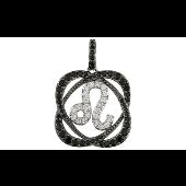 Знак Зодиака Лев с черными и прозрачными фианитами, серебро