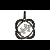 Подвеска знак зодиака Стрелец с чёрными и прозрачными фианитами, серебро