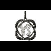 Подвеска знак зодиака Козерог с чёрными и прозрачными фианитами, серебро