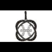 Знак Зодиака Рыбы с черными и прозрачными фианитами, серебро