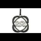 Подвеска знак зодиака Водолей с чёрными и прозрачными фианитами, серебро