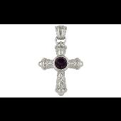 Крест без распятия с сиреневым фианитом, серебро