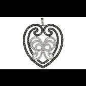 Подвеска Сердце ажурная с чёрными и прозрачными фианитами, серебро
