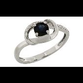 Кольцо с бриллиантами и сапфиром, белое золото