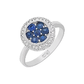 Кольцо с бриллиантами и сапфирами, белое золото