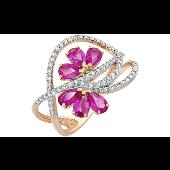 Кольцо Цветы с бриллиантами и рубинами, красное золото