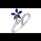 Кольцо Цветок с бриллиантами и сапфирами, белое золото