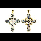 Крест без распятия с голубой эмалью, серебро с золотым покрытием