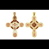 Крест православный без распятия с красно-розовой эмалью, серебро с золотым покрытием