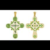 Крест православный без распятия с зеленой эмалью, серебро с золотым покрытием