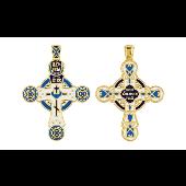 Крест православный с голубой и белой эмалью, серебро с золотым покрытием