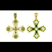 Крест православный без распятия с зеленой эмалью и золотым покрытием, серебро