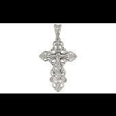 Крест православный ажурный с 1 бриллиантом, белое золото