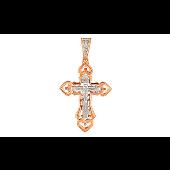 Крест православный с бриллиантом, красное золото
