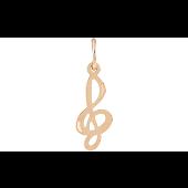Подвеска Скрипичный Ключ без вставок, красное золото