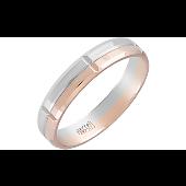 Кольцо обручальное с алмазными насечками, красное и белое золото 4мм