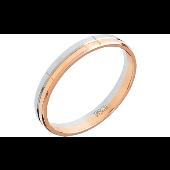 Кольцо обручальное с алмазными насечками, красное и белое золото 3мм