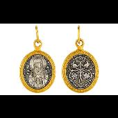 Икона Семистрельная Божья Матерь в овальном окладе с золотым покрытием, на обороте голуби, серебро