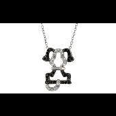Колье Собачка с чёрными ушами, чёрные и прозрачные фианиты, серебро