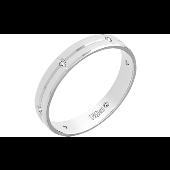 Кольцо обручальное с 6 фианитами, белое золото 4мм